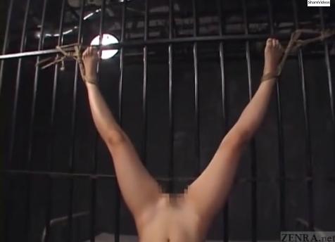 捕らえられた美少女捜査官が2人のレズ女王様に鉄格子の中で逆さ吊りの拷問・陵辱のバイブ責め!【SM無料動画】