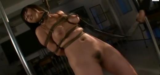 緊縛して立たされた女教師が鞭打ちされて泣き顔!陵辱の乳首クリップ&鼻フックを付けさせられて絶対服従マゾ調教!