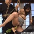 木馬責めでスパンキング鞭打ちされた緊縛M女が片足吊りの股間に異物挿入のマゾ調教に泣き顔!